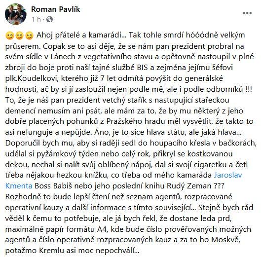 Roman Pavlík udeřil na MIloše Zemana