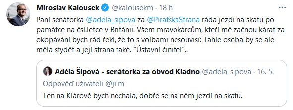 Senátorka Adéla Šípová žertovala