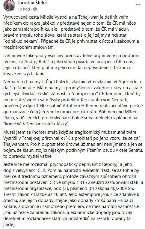 Jaroslav Štefec nejen o cestě na Tchaj-wan