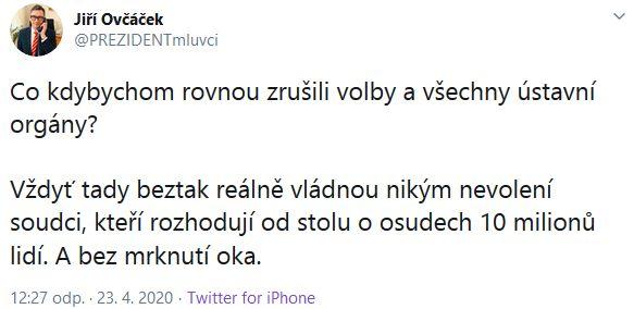 Václav Moravec připomněl slova Jiřího Ovčáčka