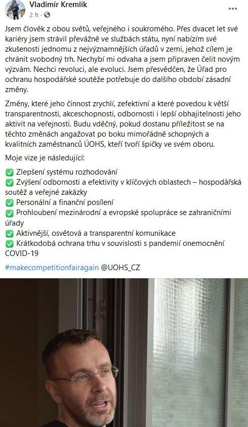 Exministr Kremlík o ÚOHS