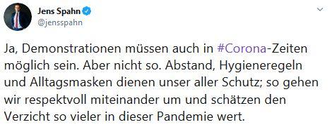 Ministr Spahn reaguje na demonstraci v Berlíně