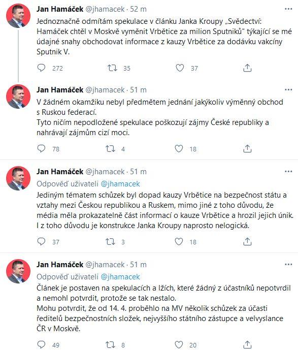 Jan Hamáček promluvil