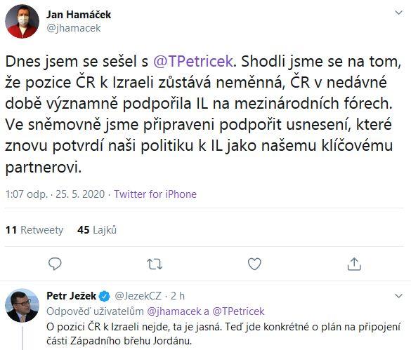 Jan Hamáček promluvil o vztahu Česka a Izraele.