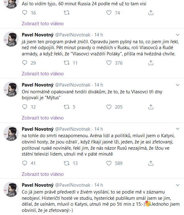 Pavel Novotný komentuje své vystoupení v ruské televizi