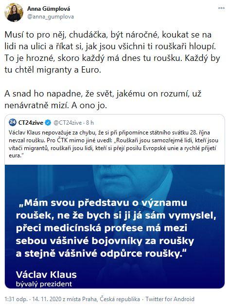 Reakce na slova Václava Klause