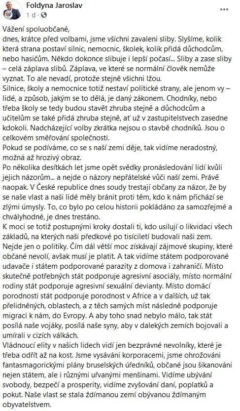 Jaroslav Foldyna se rozčílil