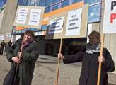 Před výstavištěm, místem konání sjezdu, demonstrov...