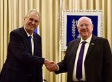 Prezident Miloš Zeman a prezident Státu Izrael Reu...