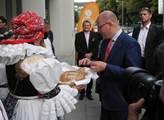 Přivítání premiéra Bohuslava Sobotky ve Šternberku