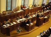 Zasedání poslanecké sněmovny. Pohled na vládní lav...