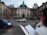 Jana Bobošíková demonstruje před budovou vlády