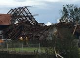 Dům ve Stebně po řádění tornáda