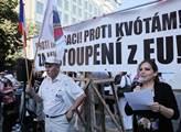 Demonstrace proti imigrantům, proti kvótám a za vy...