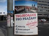 Kampaň do nadcházejících voleb v ulicích Prahy. Po...