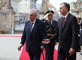 Prezident Miloš Zeman přivítal na Pražském hradě č...