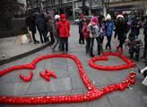 Srdce ze svíček na Václavském náměstí