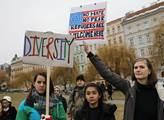 Demonstrace proti politice Donalda Trumpa. Následo...