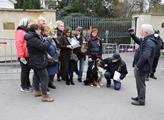 Před ruskou ambasádu přišli také proruští aktivist...
