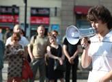Demonstrace studentů práv na podporu exministra Po...