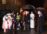 Prezident Miloš Zeman před lánským kostelem