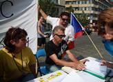Demonstrace proti církevním restitucím na Václavsk...
