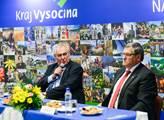 Prezident Miloš Zeman s hejtmanem kraje Vysočina J...