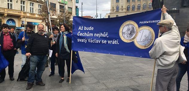 Peszynski a pět dalších lidí demonstrovali za přijetí eura. A těmito argumenty se aktivista oháněl