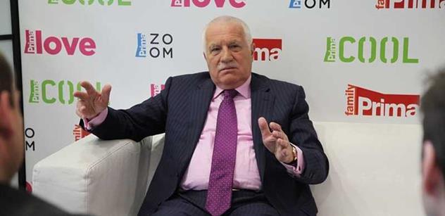 Václav Klaus na Primě: Svět se zbláznil. Paní Merkelové, Šabatové a Marksové chtějí to co kdysi Hitler a Stalin