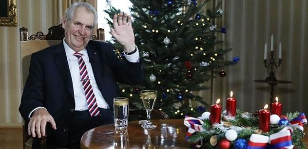 Vánoční poselství prezidenta Zemana: Připil na zdravý selský rozum
