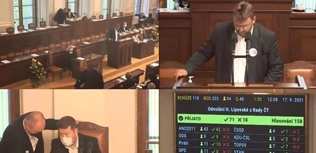 Boj o Lipovskou ve Sněmovně. Volný burácel: Marný boj s mafií. Těch sedm miliard z ČT se prostě musí rozkrást!