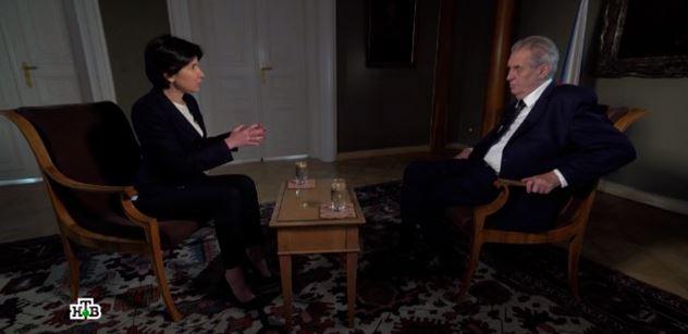 VIDEO Prezident Zeman poskytl ruské televizi 40minutový rozhovor, který zřejmě otřese vůdci v EU