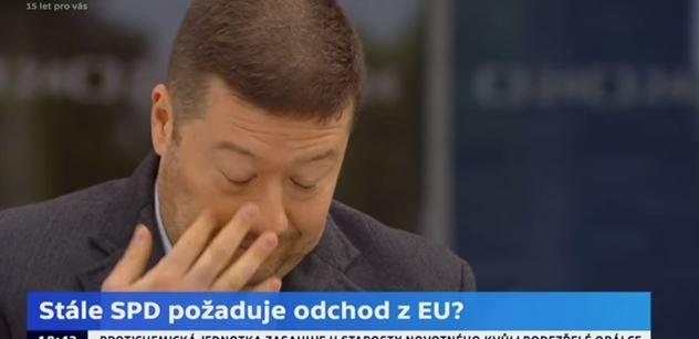 Pane Okamuro, vy chcete odejít z EU, když nám může dát 19 miliard eur?! ptala se moderátorka ČT. A odšpuntovala krasojízdu šéfa SPD, která na Facebooku trhá rekordy
