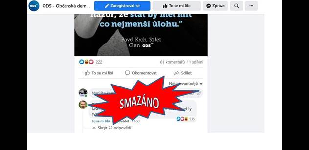 Šlachta zareagoval na status ODS na Facebooku. Jeho komentář byl okamžitě smazán, on zablokován. Jenže my to máme. Víme, co napsal