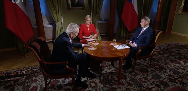 """Rusko není hrozba, řekl Babiš. Zeman řekl dvakrát """"blbec"""" a vysmál se v ČT demonstrantce"""