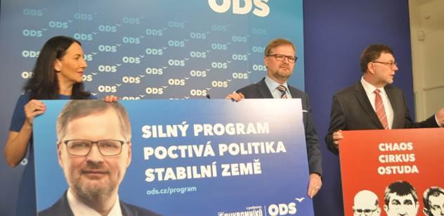 Chaos, cirkus, ostuda: ODS představila předvolební plakáty. Kritizovat bude Babiše i Sobotku
