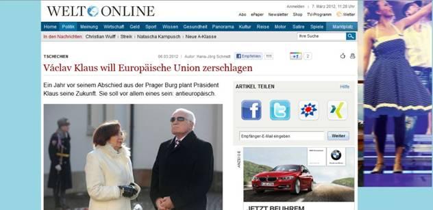 Klaus není jen proti eurohujerům, chce rozbít EU, píší Němci